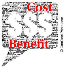 benefício, custo, palavra, forma, nuvem