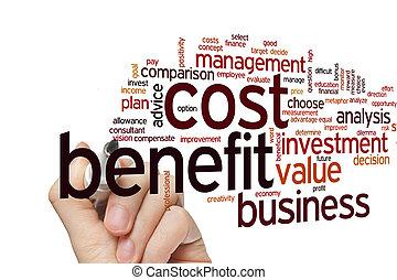 benefício, custo, palavra, nuvem