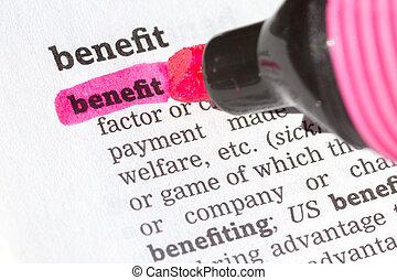 benefício, definição, dicionário