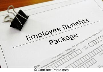 benefício empregado, closeup, pacote