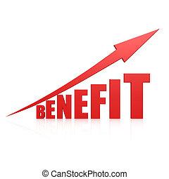 benefício, seta vermelha