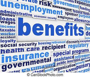 benefícios, conceito, slogan, cartaz