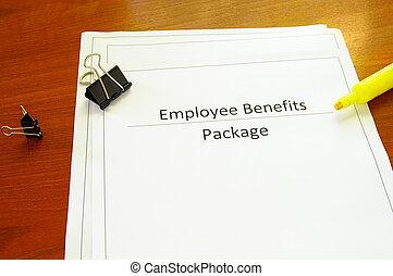 benefícios, escritório, pacote, misc, escrivaninha, empregado, materiais