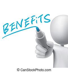 benefícios, escrito, homem, palavra, 3d