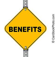 benefícios, estrada amarela, sinal