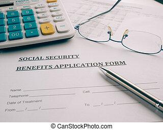 benefícios, forma, aplicação, desk., segurança social