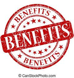 benefícios, selo, vindima, isolado, borracha, grungy,...