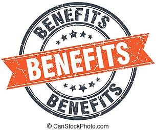 benefícios, selo, vindima, isolado, laranja, grungy, redondo