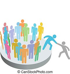 benefattore, aiuta, persona, unire, persone, membri, ditta,...