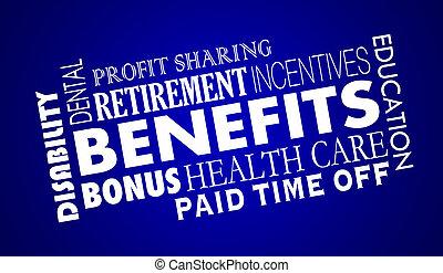 benefici, impiegato, assistenza sanitaria, assicurazione, pensionamento, 3d, illustrazione