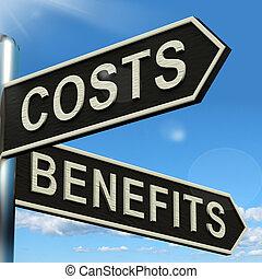 benefici, signpost, valore, scelte, costi, analisi, investimento, mostra