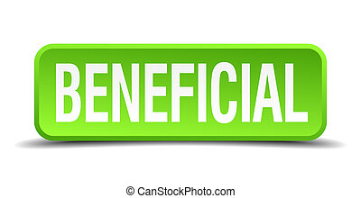 beneficial green 3d realistic square isolated button