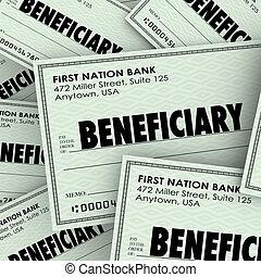 beneficiary, woord, controles, verzekering, erfgenaam,...