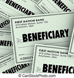 Beneficiary Word Checks Insurance Heir Recipient Money...