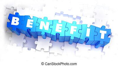 beneficio, -, blanco, palabra, en, azul, puzzles.