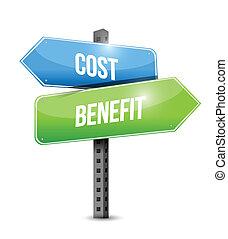 beneficio, coste, diseño, ilustración, señal