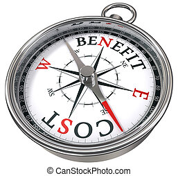 benefit cost concept compass icolated on white background