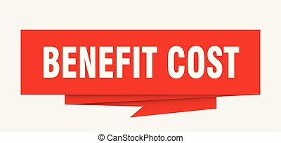benefit cost sign. benefit cost paper origami speech bubble....
