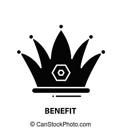 benefit icon, black vector sign with editable strokes, concept illustration