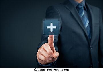 Benefit plus positive - Businessman click on plus button, ...