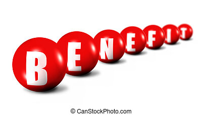 Benefit word made of spheres on white background, focus set...