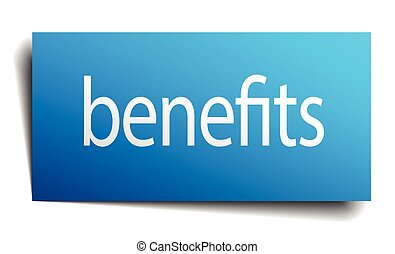 benefits blue square isolated paper sign on white