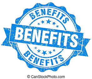 benefits blue vintage isolated seal