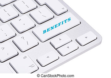Benefits - Business Concept. Button on Modern Computer Keyboard.