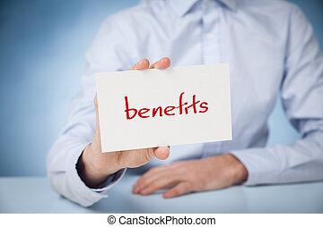 Businessman show on card text benefits.