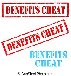 Benefits Cheat-stamps - Set of stamps with text Benefits...