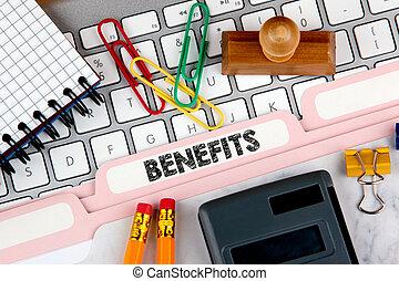 Benefits concept. Folder Register on Background of Computer Keyboard