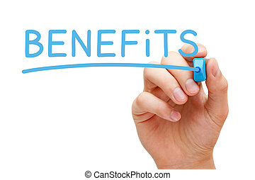 Benefits Concept - Hand writing Benefits with blue marker on...