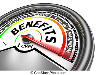 benefits conceptual meter indicate maximum, isolated on...