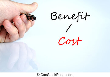 Benefits cost text concept isolated over white background