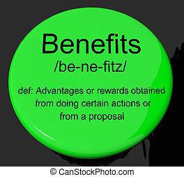 Benefits Definition Button Showing Bonus Perks Or Rewards