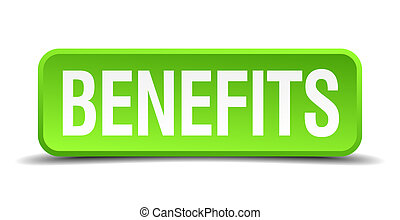 benefits green 3d realistic square isolated button