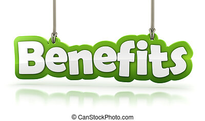 benefits green word text isolated on white background with clipping path