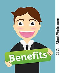 Benefits message  show by a business man . Business Concept Illustration