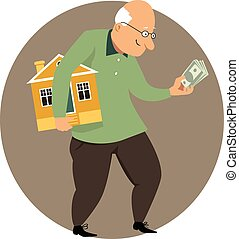 Benefits of downsizing - Happy elderly man holding a small...