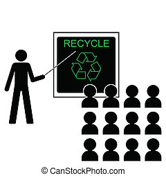 benefits of recycling - Man giving lecture on the benefits...