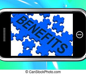 Benefits On Smartphone Shows Monetary Rewards And Bonuses