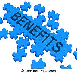 Benefits Puzzle Shows Company Rewards Or Bonus Compensation