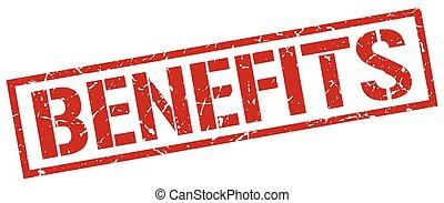 benefits red grunge square vintage rubber stamp