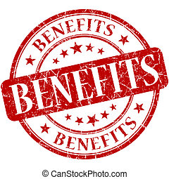 Benefits red round grungy vintage isolated rubber stamp