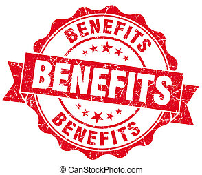 benefits red vintage isolated seal