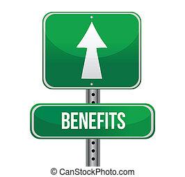 benefits road sign illustration design over a white background