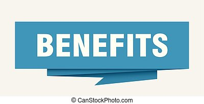 benefits sign. benefits paper origami speech bubble. ...