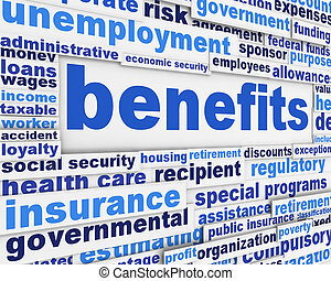 Benefits slogan poster concept. Financial support message...