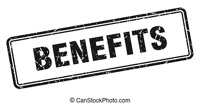 benefits stamp. benefits square grunge sign. benefits