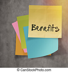 """""""benefits"""" text on sticky note paper on wall texture"""